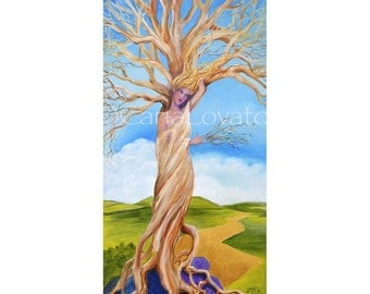 Goddess art,  Goddess of trees,  Original painting, tree spirit, celtic art, Wall art, woman in a tree, fantasy, surreal, home decor