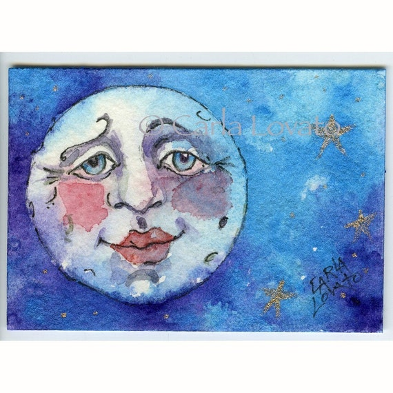 Blue moon painting, Aceo size, giclee print, Moon face, Hand painted touches, tiny painting, sweet kissable lips