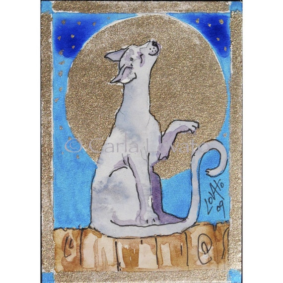 Cat  Art Watercolor Painting Original Cat Painting Moon Light ACEO Night Sky Celestial Kitty Cat Singing