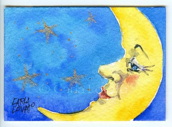 Moon face Original Watercolor Painting  - ACEO Cobalt Yellow Crescent moon art