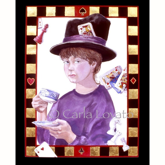 Alice in Wonderland, Watercolor painting, 8 x 10 giclee print, Mad Hatter, child portrait, wall art, tea cup,