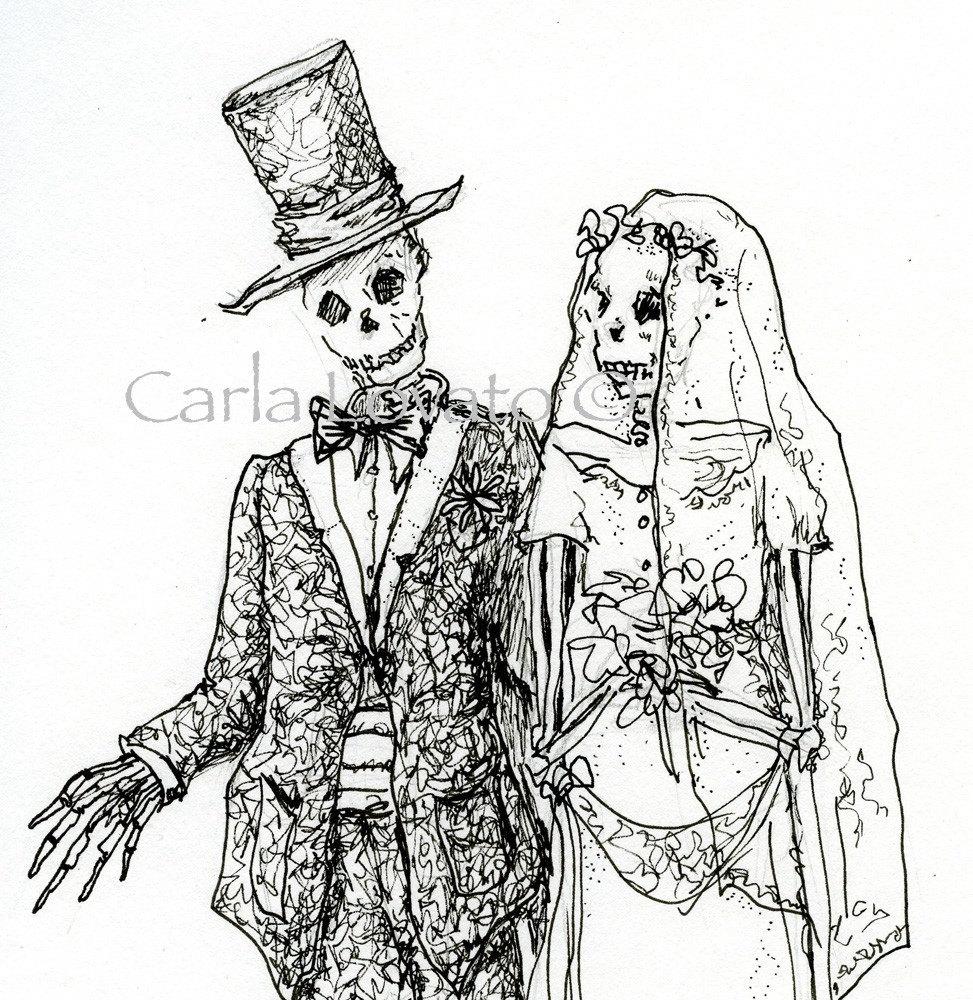 skeleton wedding pen and ink drawing halloween wedding