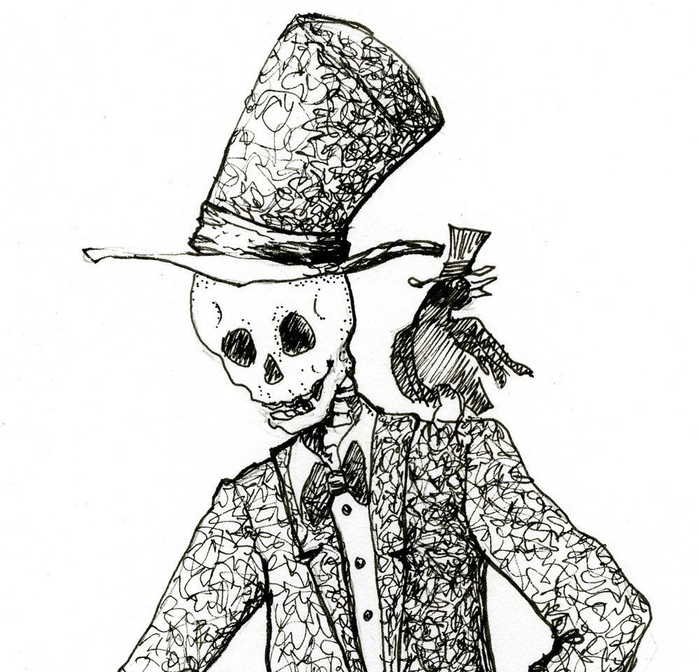 Skeleton Art Day Of The Dead Original Drawing Crow By