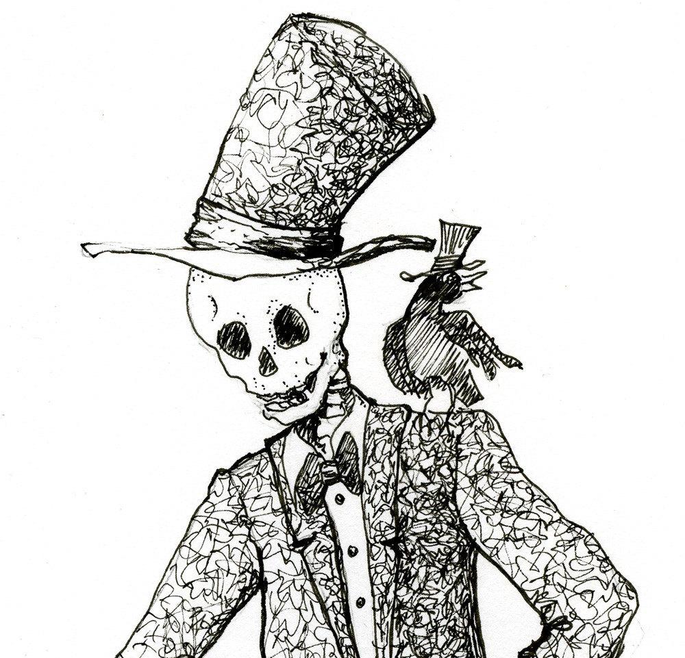 Ink Illustration: Skeleton Drawing Steampunk Illustration Pen And Ink Fine