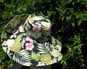 Wide Brim Sun hat Tropical Print