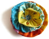 Yellow Orange Blue Ruffle Flower Fabric Brooch