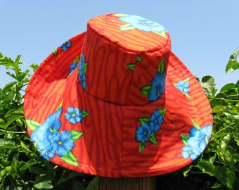 Red Wide Brim  Sun Hat With Blue Flowers