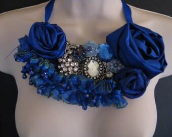 Cobalt Blue Flower Bib Statement Necklace