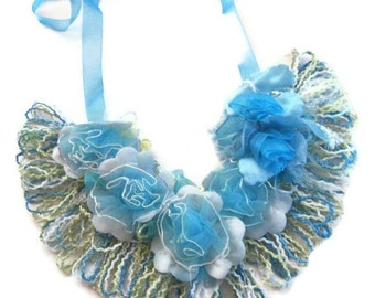 Blue Lagoon Floral Bib Necklace