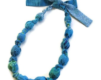 Turquoise Print Fabric Wood Bead Necklace