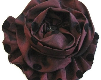 Maroon Black Rose Brooch