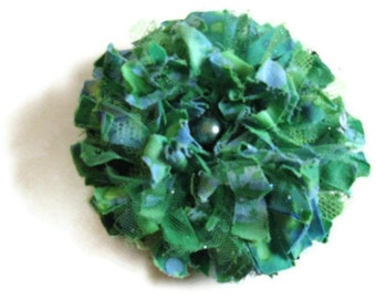 Aqua Blue Green Tattered Flower Brooch