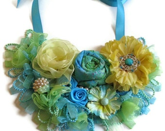 Turquoise Yellow Green Bib Necklace