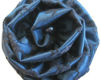 Blue Black Dot Flower Brooch