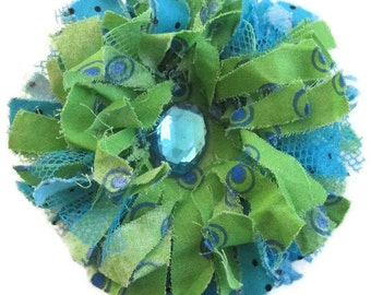 Green aqua tattered flower brooch,Fabric Flower Brooch, Flower Pin Brooch
