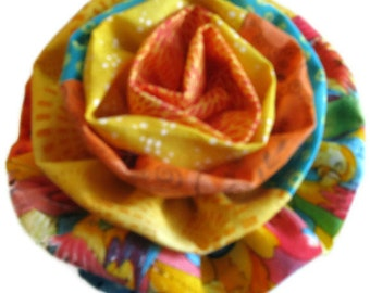 Fabric Flower Brooch in Tropical Colors