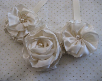 Creme Satin Floral Bib Statement Necklace