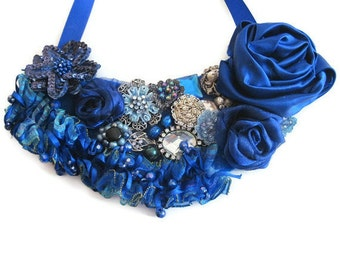Royal Blue Floral Jeweled Statement Bib Necklace