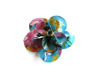 Blue Pink Yellow Tropical Print Flower Brooch