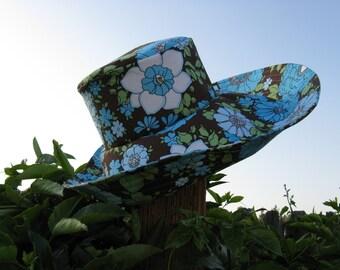 Wide Brim Sun Hat Blue Brown White Floral Womens
