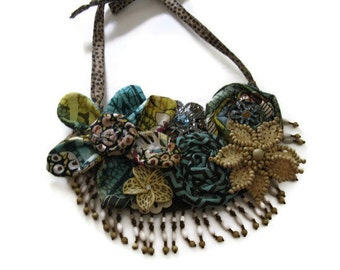Tribal Floral Fabric Bib Necklace Blues Browns Beige Beaded Fringe