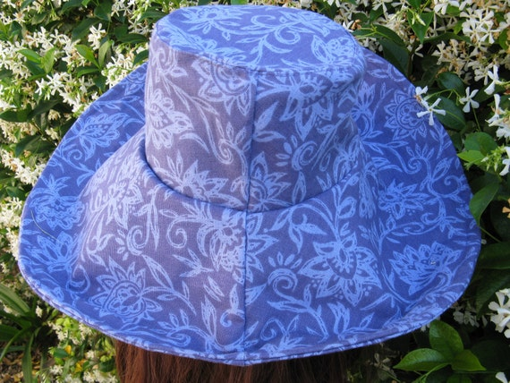 Wide Brim Sun Hat Womens Purple Print