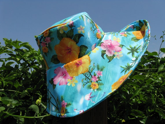 Wide Brim Sun Hat  Turquoise  Tropical Floral Print