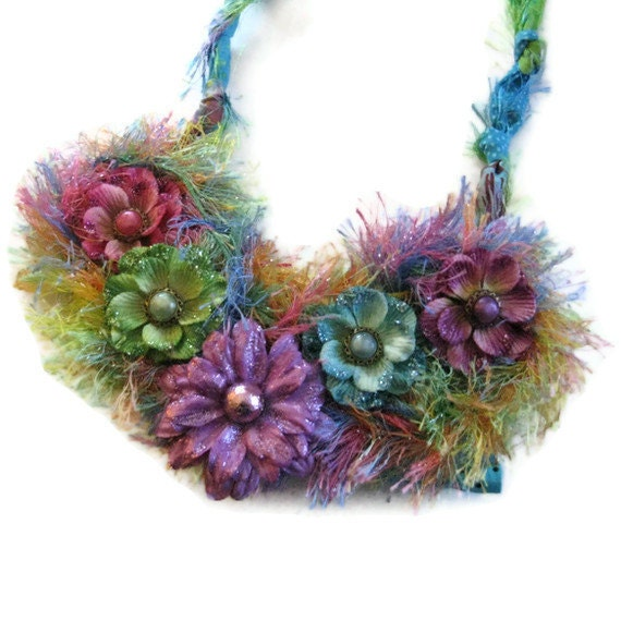 Bib Statement Floral  Necklace  Summer Necklace