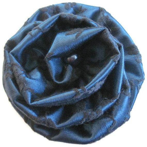 Blue Black Dot Flower Brooch