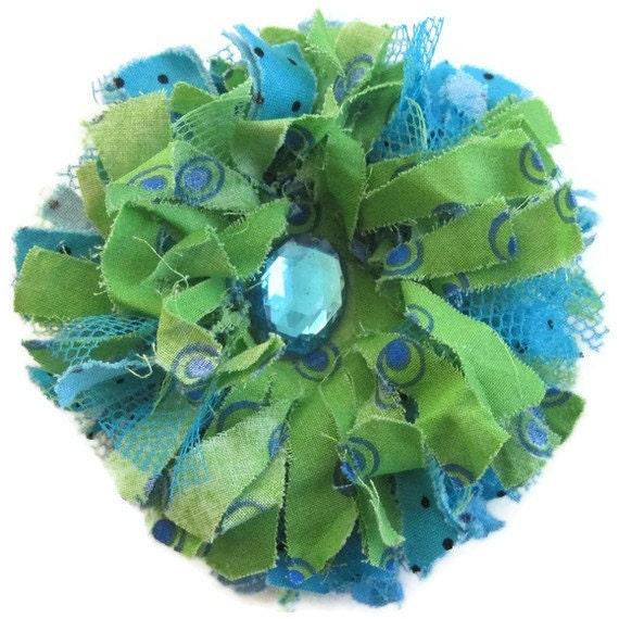 Green aqua tattered flower brooch,Fabric Flower Brooch, Flower Pin Brooch