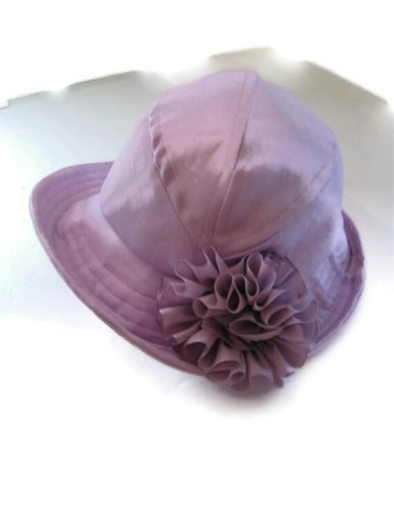 Womens Cloche Hat Lavender with Flower Trim