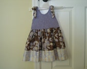 Toddler Summer Jumper Hand Knitted Lavender and Brown