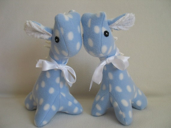 Baby blue polka dot fleece giraffe