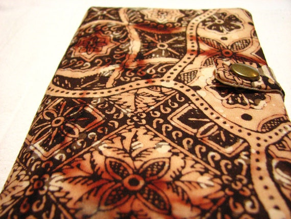 Fabric Passport Cover Henna Brown and Tan Mehndi Batik with Pockets and Snap
