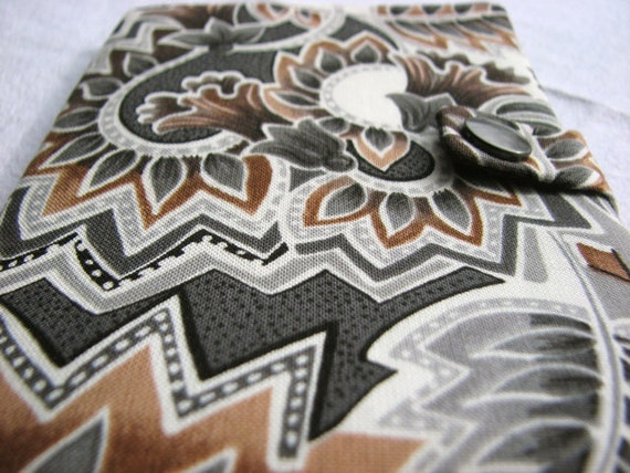 Passport Cover Tribal Black White Brown Fabric with Pockets and Snap