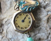 Steampunk Necklace // Elegant // Vintage Gold Watch Case Keyhole Pendant - Great for Valentines Day - Mothers Day - Anniversaries
