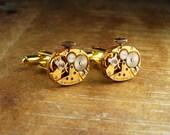Steampunk Cufflinks Vintage Hamilton Striped Luxury Gold Watch Movement Mens Gear Cuff Links by Steampunk Vintage Design
