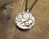 Steampunk Necklace Vintage Elgin Pocket Watch Movement Reversible Steam Punk Necklace - Jewelry by Steampunk Vintage Deisign
