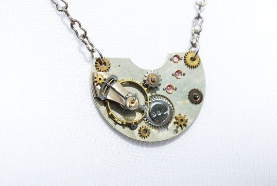 Steampunk Necklace Vintage Swiss Ruby Jeweled Pocket Watch Part - Gears - Pendant Necklace by Steampunk Vintage Design
