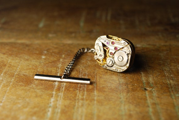 Steampunk Tie Tack // Rima 17 RUBY Jewel Silver Watch Movement Tie Tac -- Great for Wedding Gift - Fathers Day - ANNIVERSARIES