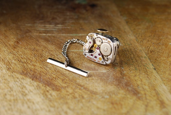 Steampunk Tie Tack Vintage Hamilton 911 Ruby Jewel Silver Watch Movement Mens Gear Tie Tac - Accessories by Steampunk Vintage Design