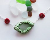 Natural Sea Glass and Polymer Clay Window Bead Necklace (turquoise and red)