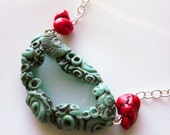 Natural Sea Glass and Polymer Clay Window Necklace (turquoise and red)