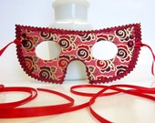 Bright Red Burgundy Purple and Gold Rosette Masquerade Mask