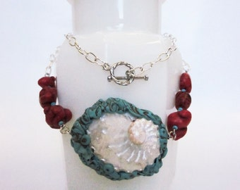 Teal, Red, Silver & Pearly White Shell Necklace (princess length)