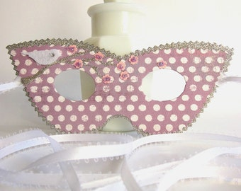 Polka Dot Masquerade Mask Silver and Lavender with Pink Blossoms and White Bird