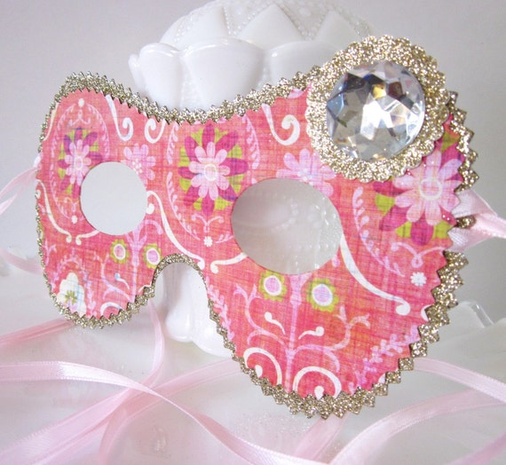 Bold Pink and Gold Floral Pattern Masquerade Mask, Costume, Party Favor, Decoration