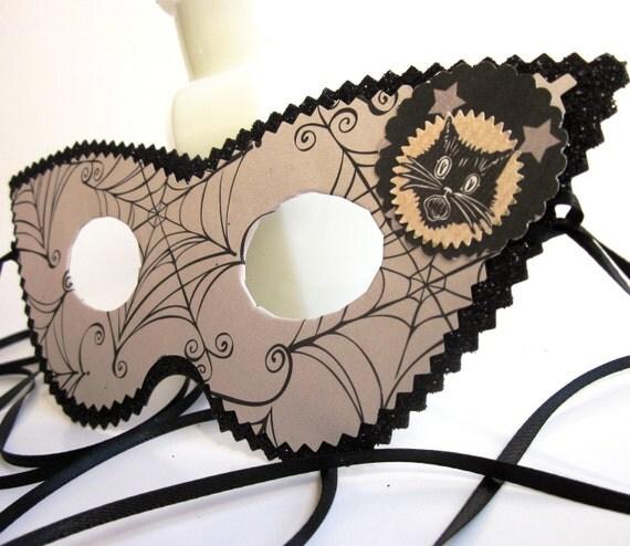 Black Cat & Spider Web Halloween Masquerade Mask