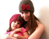 Set of Mommy and Daughter Hats in Taupe and Raspberry Pink (Hand-Knit)