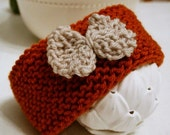 Pumpkin and Ivory Hand-Knit Earwarmer with Bow